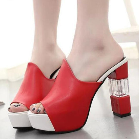 Summer PU Platform Casual High Heel Slippers