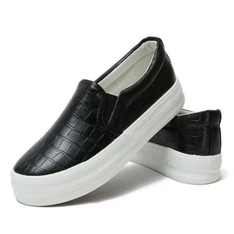 Slip-On Gore Platform Shoes Women Round Toe Fashion Sneakers