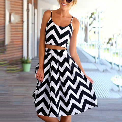 Stylish Zebra Two-Piece Maxi Dress