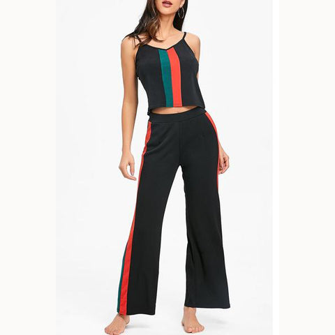 Fashion Split Joint Sling  Two-Piece Jumpsuit