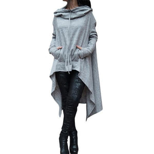 Irregular Fashion Solid Color Long Hoodie