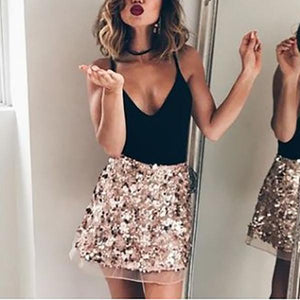 Mesh Sequin Short A-Line Skirt