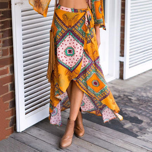 Bohemian Swallowtail Irregular Printed Skirt