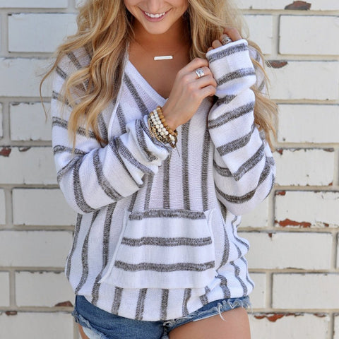 Casual Striped Hooded Sweater