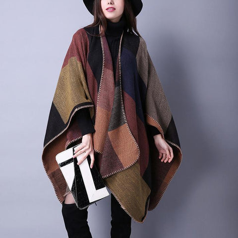 Casual Elegant Fashion Rectangle Plaid Cape Scarf