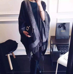 Fashion Elegant Color Block Rectangle Cardigan Cape Scarf