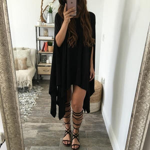 Bohemia Vacation Fashion Casual Loose Plain Cape Maxi Dress