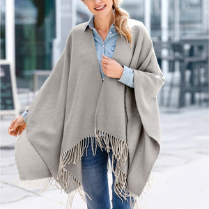 Casual Fashion Thermal Loose Plain Fringe Bottom Cape Scarf
