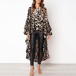 🔥Flash Sale Fashion Leopard Print Asymmetric Hem Lantern Sleeve Shirt