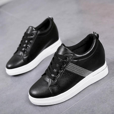 Plain  Invisible  Mid Heeled  Criss Cross  Round Toe  Casual Sneakers