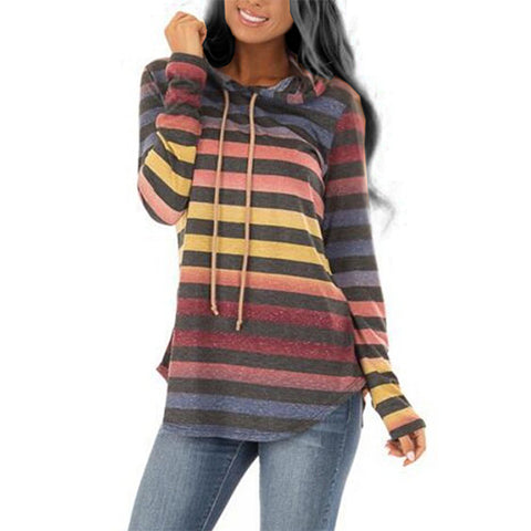 Hooded  Asymmetric Hem  Gradient Striped Hoodie