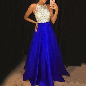 Halter Glitter Plain Evening Dresses