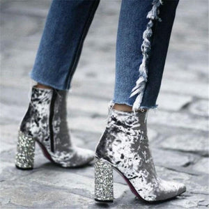 Fashion Sequined Gold Velvet High Heel Booties