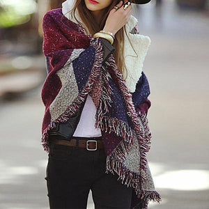 Chic Plaid Imitation Cashmere Thick Warm Scarf Shawl