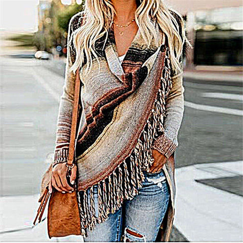 Fashion Fringed Knit Shawl