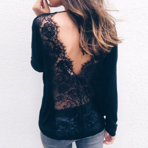 V-Neck Halter Sexy Stitching Lace T-Shirt
