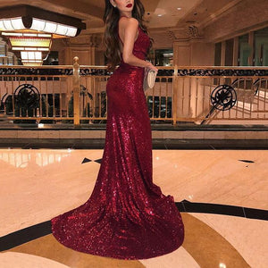 Flash Sale V-Neck Red Sparkling Evening Dress