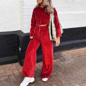 Sexy Velvet Crop Top High-Waist Loose-Leg Pants   Two Piece Set