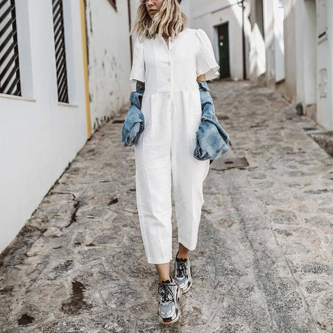 Women Casual Jumpsuit Short Sleeve Loose Button Color White Stylish Jumpsuit