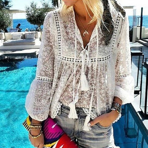 Casual Belted Lace Tassel Splicing Hollow Out See-Through Blouse