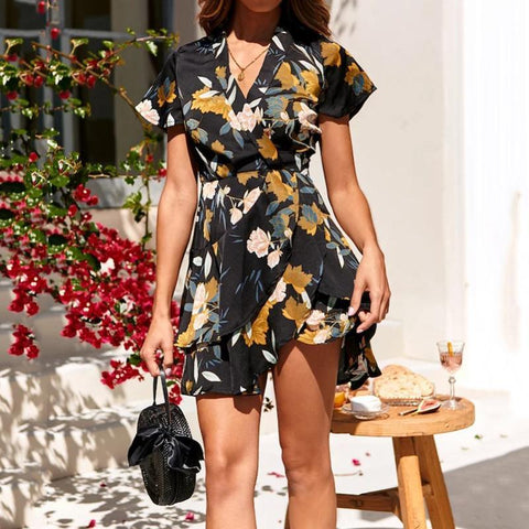 Sexy Deep V Floral Print Short Sleeve Holiday Dress