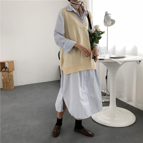 Pure Color Casual Long   Shirt Skirt