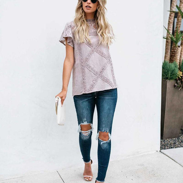 Fashion Lace Hollow Out Splicing Short Sleeve T-Shirt