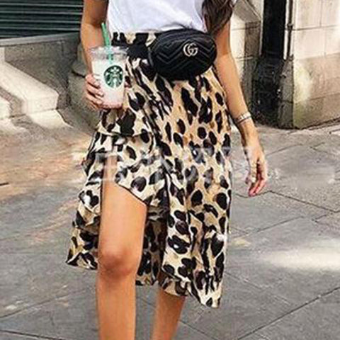 Slit  Leopard Printed Skirts