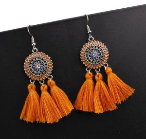 Bohemian Hollow Tassel Earrings Retro Creative Alloy Earrings