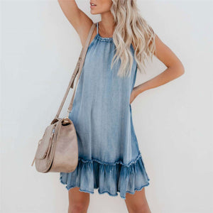 Fashion Halter Plain Ruffled Loose Vacation Dress