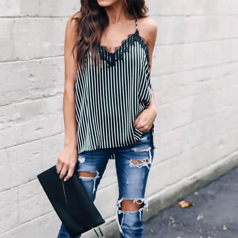 Sexy Lace Sling Striped Sleeveless Vest