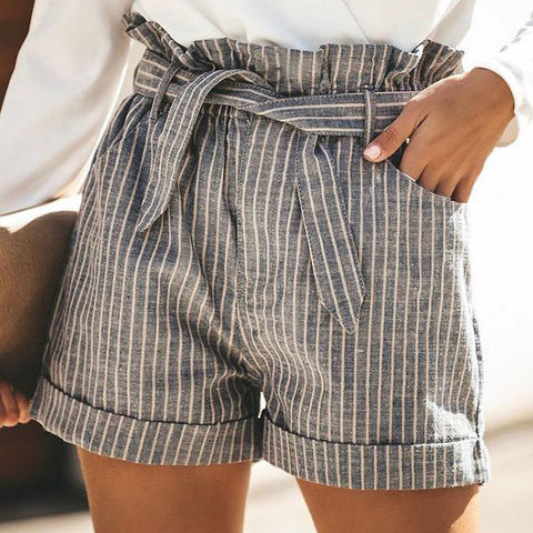 Striped High Waist Pocket Shorts Pants