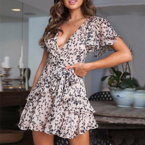 2019 Deep V Collar Leopard Printed Flounce Decorated Vacation Dress