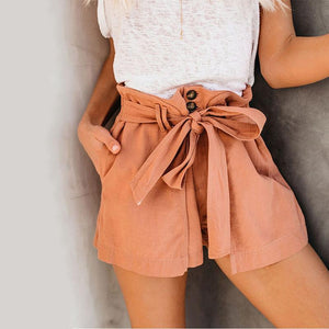 Casual Pure Colour High-Waist Belted Short Pants