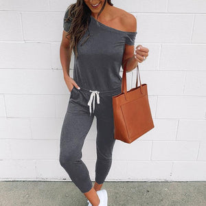 Casual Sloping Shoulder Pure Colour Belted Jumpsuits