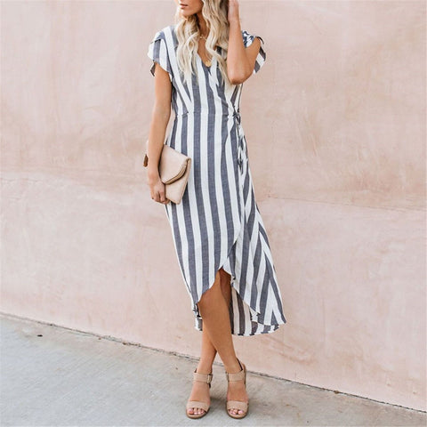 Fashion V Collar Strip Printed Lace-Up Maxi Dress