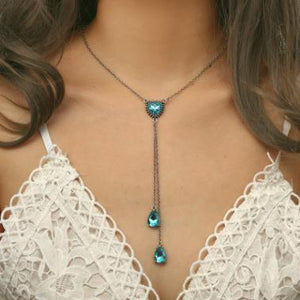 Fashion Ocean Heart Necklace Blue Gemstone Diamond-Studded Long Chain Crystal Pendant