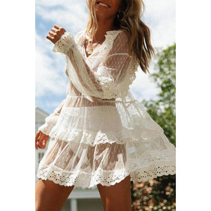 2019 New Lace Beach Skirt Thin Holiday Sunscreen Blouse