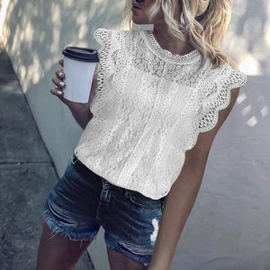 Classy Round Neck Lace Hollow Out Sleeveless Blouse