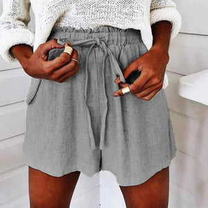 Drawstring Elastic Waist Cotton   Casual Shorts