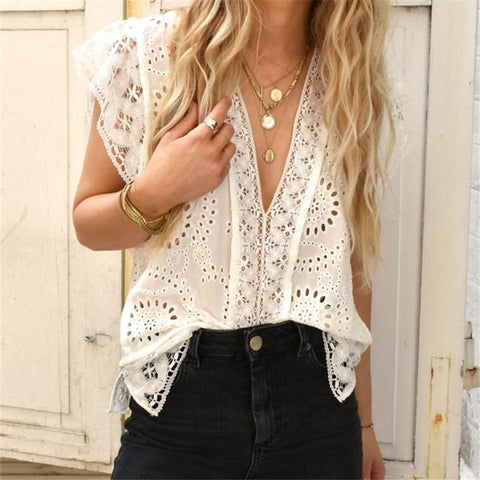 Women's V-Neck Single-Breasted Lace Stitching Openwork Sleeveless T-Shirts