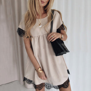 Loose Round Neck Hem Lace Solid Color Casual Mini Dress