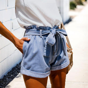 JOJORUBY High Waist Curled Loose Slim Denim Shorts