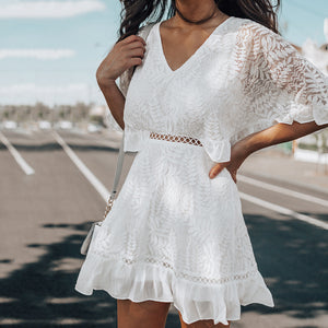 Women's Sexy Solid Color Lace V-Neck Casual Dress