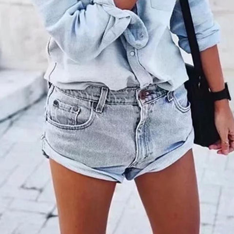 Fashion Versatile Curled Denim Shorts