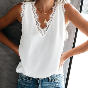 Athleisure Sleeveless Lace Pure Colour V Neck Tank Vest Top