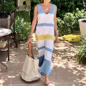Fashion Color Striped V-Neck Sleeveless Loose Jumpsuits