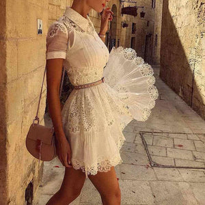 Women's Solid Color Lace Perspective Dress