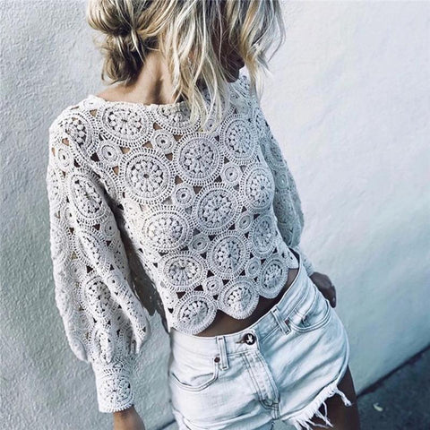 Women's Knit Openwork White Top Blouse