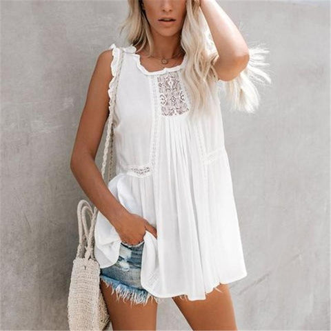 Women's Lace Sleeveless White Blouse